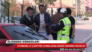 Konya'da kaza! Otomobille çarptığı aydınlatma direği üzerine devrildi