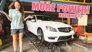 Making my wife's C63 AMG EVEN FASTER!! Pops & Bangs tune + Massive Burnout! by Evan Shanks