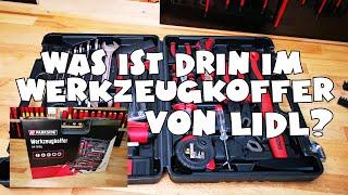 Was ist drin - Lidl - PARKSIDE® Werkzeugkoffer, 64-teilig, mit Wasserwaage, Handsäge, Zangen, Hammer