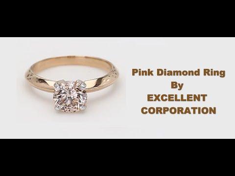 1.50ct Brown Pink CVD Diamond Ring SI1 Pink Gold 14k 2.92gm USA7 Size