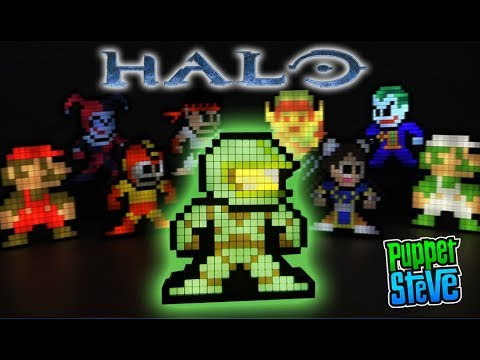 Minecraft Puppet Steve Pixel Pals Halo Master Chief Street Fighter 8-bit Light up Figures PDP Toys