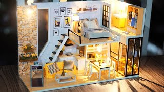 DIY Miniature Dollhouse Kit || Give You Happiness ( With Full Furniture & Lights )