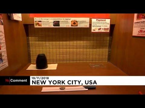 العرب اليوم - شاهد: سكينة غير معهودة في مطاعم يابانية وسط نيويورك