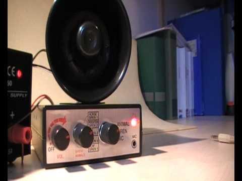 sirene met 5 sirene geluiden, 5 dieren geluiden en microphone
