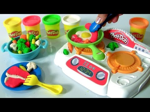 PLAY DOH Sizzlin' Stovetop DIY Make Burgers Bacon Eggs with Play-Doh Kitchen Creations Stove Set