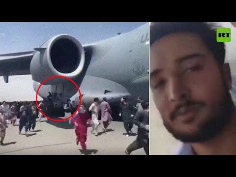 Video: Se filma asimismo tratando de huir de Afganistán aferrado al avión