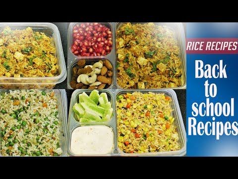 टिफिन रेसिपीस | Indian Lunchbox Recipes | 4 Simple Rice Recipes | MadhurasRecipe