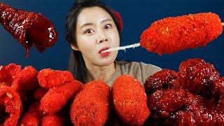 MUKBANG ASMR   Red Cheetos🌶from USA Hotdog Cheese Stick Onion Ring & Fire Chicken Eatingsound 아라 Ara