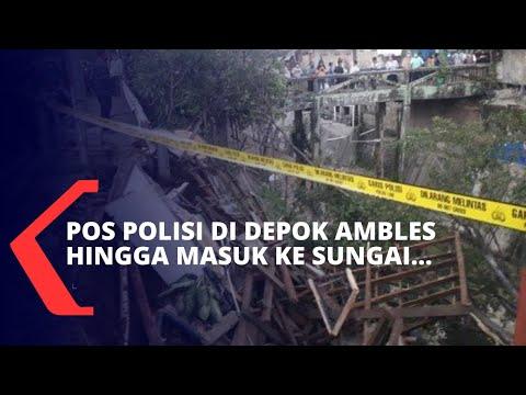 Pos Polisi di Depok Ambles hingga Masuk ke Sungai, Seorang Petugas Terjebak