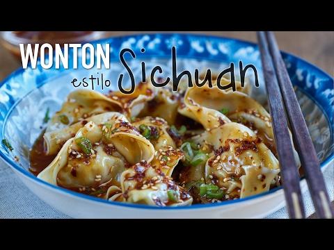 Wonton con salsa picante estilo Sichuan - Spicy Sichuan Wonton Recipe