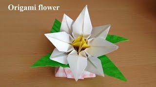 折り紙の花くちなし立体折り方niceno1OrigamiflowerGardenia3D