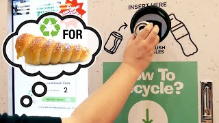 Smart Recycling Machine - Recycling Plastic Bottles & Aluminum Cans for A Free Bread