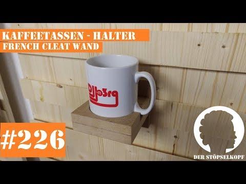 Der Stöpselkopf #226 Kaffeetassen - Halter   French Cleat Wand