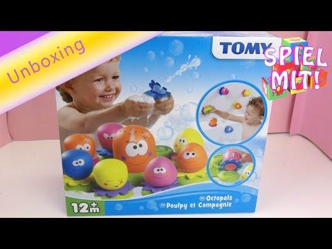 TOMY Okto Plantschies - Badespielzeug für Babys und Kleinkinder / Badespaß - Unboxing deutsch