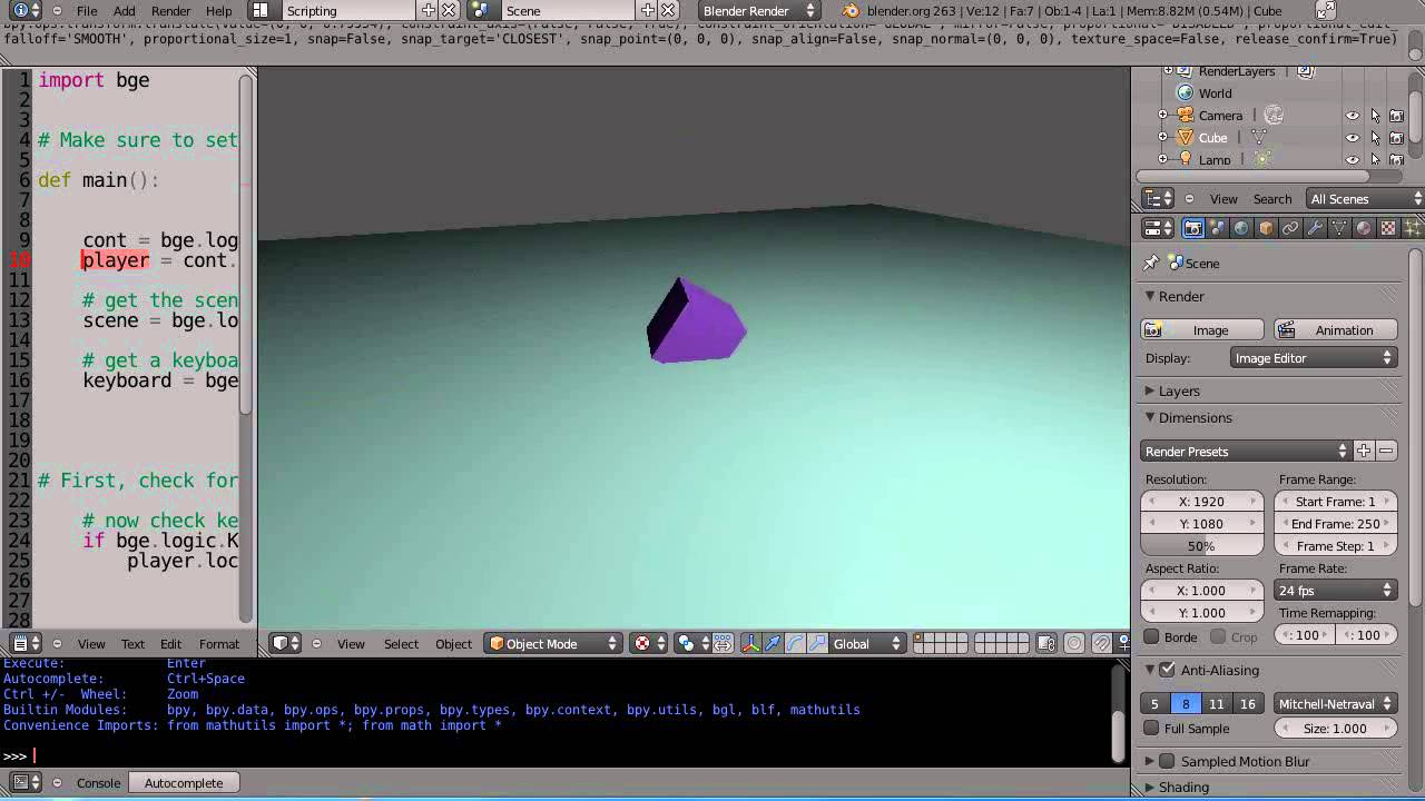 Blender 2.6 Tutorial - Python Game Engine Programming - Part 1