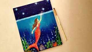 How To Paint / Mermaid /How To Draw Underwater /Easy Acrylic Painting For Beginners/ Seascape
