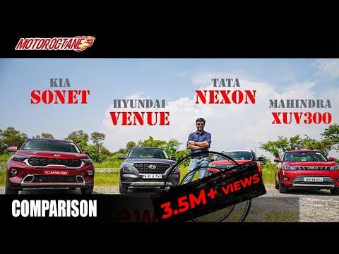 Motoroctane Youtube Video - Kia Sonet vs Nexon vs Venue vs XUV300 Comparison - MEGA BATTLE