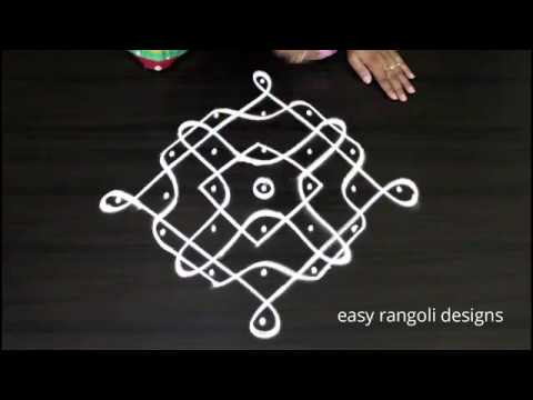 Beautiful  kolam  with 7 dots || easy rangoli designs || simple  muggulu patterns