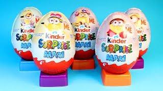 Minions Kinder Maxi Surprise Eggs Opening Minion Toys Despicable Me Minions Around the World Toys