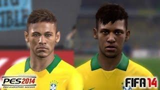 PES 2014 Vs FIFA 14 Face Comparison BRASIL (National Team) Neymar, Ronaldinho