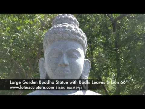 Buddha Statue with Bodhi Leaves & Lions 66