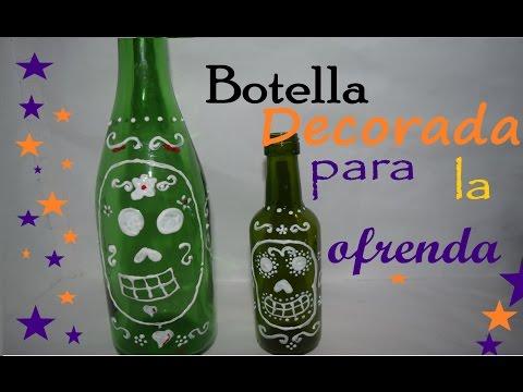 Botella Decorada para la Ofrenda - DIY - Reciclando