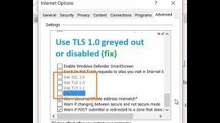 UseTLS1.0,1.1,1.2greyedoutordisabled.CantselectUseSSL,TLSAdvancedsecurityoptions