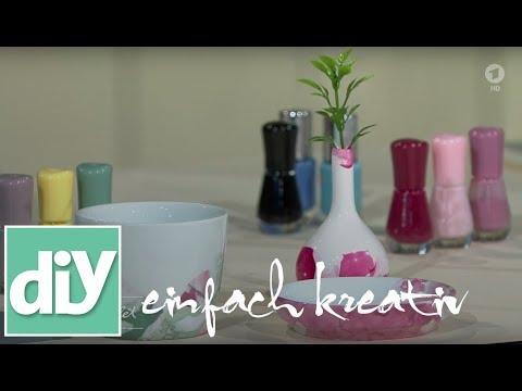 Vasen und Geschirr mit Nagellack marmorieren | DIY einfach kreativ