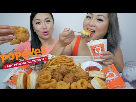 Popeyes Chicken Feast | Sister Q&A Mukbang | N.E Let's Eat