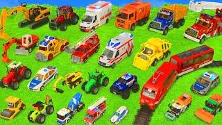 Traktör, Vinç, Ekskavatör ve Yeni - Itfaiyeci oyuncak - polis arabası Çocukı - Excavator Toys