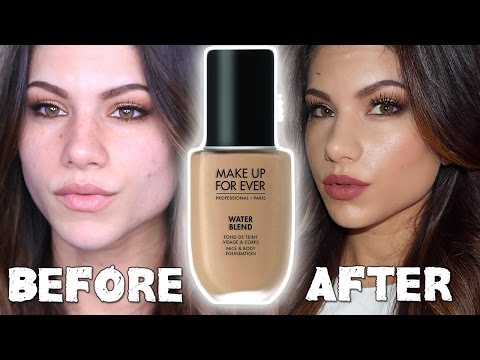 NEW MAKEUP FOR EVER Water Blend Foundation | First Impressions Review & Demo