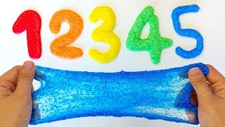 Learn to Number 1234567890 with Rainbow Foam Clay Slime Toy Soda