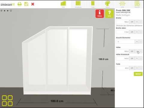 """schrankwerk.de - Der 3D-Konfigurator für Möbel nach Maß - Schritt 1 """"Maße"""""""