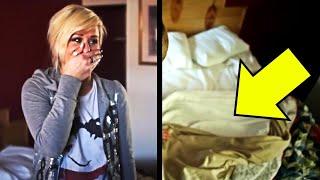 Zimmermädchen, das dieses Hotelzimmer putzt, bricht zusammen, nach dem Anheben der Bettdecke