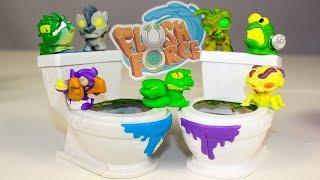 Сюрпризы Игрушки Флаш Форс Видео для детей #сюрпризы в унитазах Flush Force Surprise Monsters
