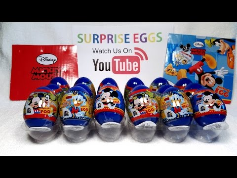 Mickey Mouse Surprise Eggs Opening Toys Disney - Part 2/2 -12 Kinder Surprise Egg Style Toys