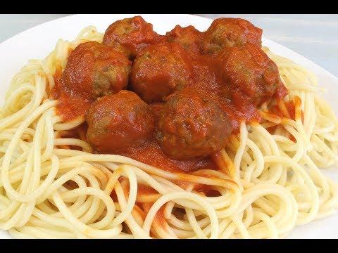 Espaguetis con albondigas   Receta deliciosa