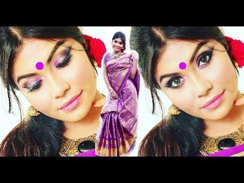 Durga Puja Makeup Tutorial | বাংলা তে । Saree + Jewellery | Bengali Makeup Part-2