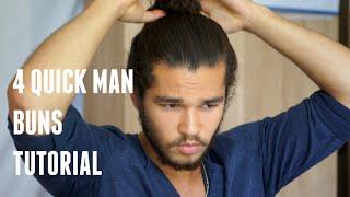 4 Quick Man Buns Tutorial | Kithera Danso