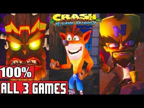 Crash Bandicoot N. Sane Trilogy FULL Gameplay Walkthrough Trilogy 100% (Crash Bandicoot 1-3 PS4)