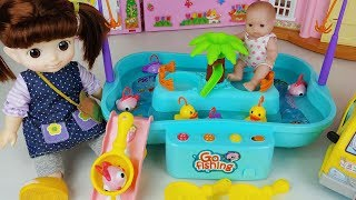 Baby doll go Fishing fish play and duck toys play - ToyMong TV 토이몽