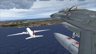 [FSX] Boeing 777 Turkish Airlines chased by 3 F16's, escort national football team to airport [HD]