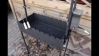 Вертел с электроприводом до 25 кг на мангал - Электропривод для вертела с крестовиной - Вертел крестообразный - видео 3