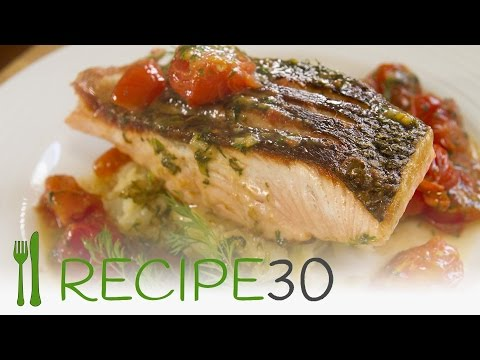 SALMON recipe with crispy skin and fresh tomato dill sauce on crushed ...