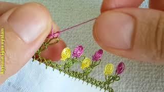 359.model Cıtı pıtı çok güzel iğne oyası modeli anlatımlı yapılışı Flower floor