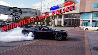 Burnouts, street racing, and police!!! at Houston coffee and cars