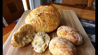 No-Knead Cheddar Cheese Bread & Rolls (updated)… super easy… no machines