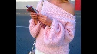 Как связать спицами просторный свитер с открытым плечом. Пряжа Гемма распродана. Бесплатный МК