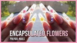 Polygel Nails Tutorial - How To Encapsulated Real Flowers - Polygel Nails With Nail Forms