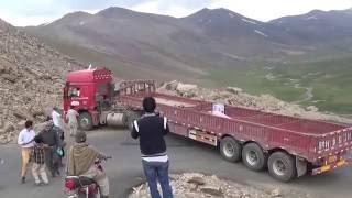 Chinese truck driver stuck on Babusar pass, GB, Pakistan